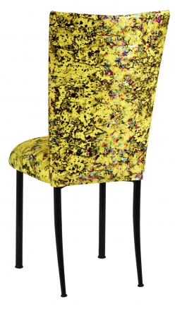 Yellow Paint Splatter Chair Cover and Cushion on Black Legs (1)