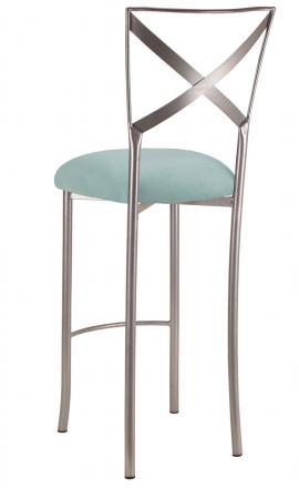 Simply X Barstool with Ice Blue Suede Cushion (1)