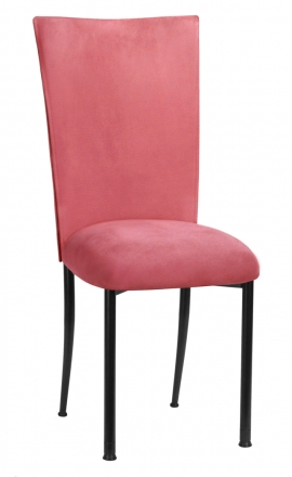 Raspberry Suede Chair Cover and Cushion on Black Legs (2)