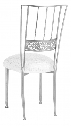 Silver Bella Fleur with White Wedding Lace and White Knit Cushion (1)