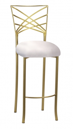 Gold Fanfare Barstool with Platinum Satin Cushion (2)