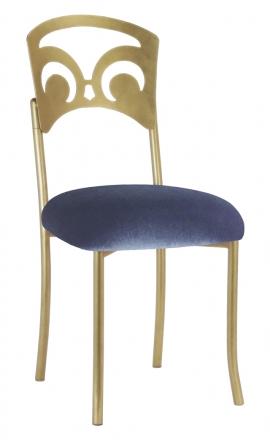 Gold Fleur de Lis with Steel Velvet Cushion (2)