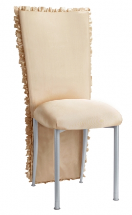 Champagne Ruffle Chair Cover with Champagne Bengaline Cushion on Silver Legs (2)
