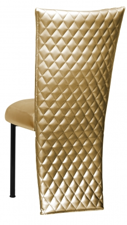 Gold Quilted Leatherette Jacket and Boxed Cushion on Black Legs (1)