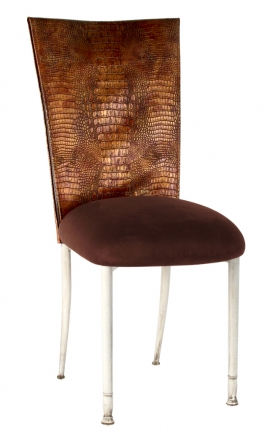 Bronze Croc Chair Cover with Chocolate Suede Cushion on Ivory Legs (2)