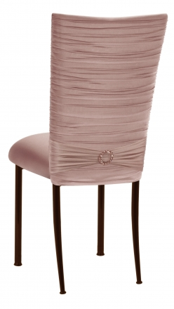 Chloe Blush Stretch Knit Chair Cover with Jewel Band and Cushion on Brown Legs (1)