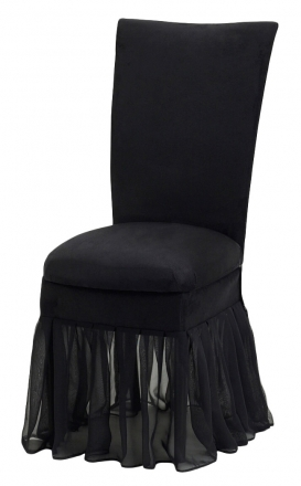 Black Suede Chair Cover with Jewel Belt, Cushion and Black Organza Skirt (2)