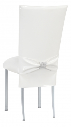 White Patent Chair Cover and Rhinestone Belt with White Stretch Knit Cushion on Silver Legs (1)