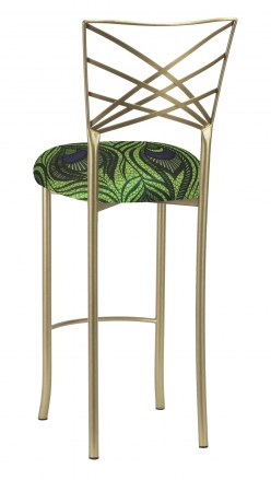 Gold Fanfare Barstool with Green and Blue Peacock Knit Cushion (1)