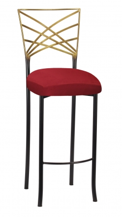Two Tone Fanfare Barstool with Rhino Red Suede Cushion (2)
