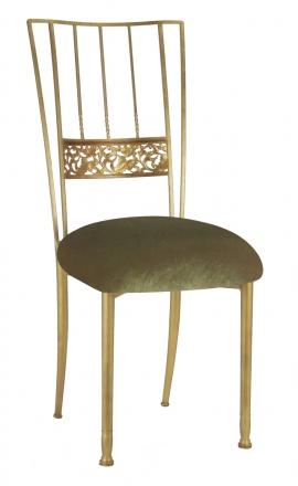 Gold Bella Fleur with Olive Velvet Cushion (2)