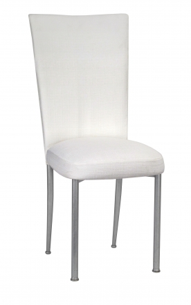 White Linette Chair Cover and Cushion on Silver Legs (2)