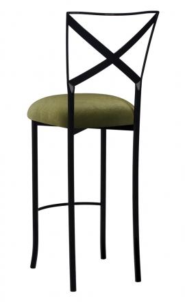 Blak. Barstool with Olive Velvet Cushion (1)