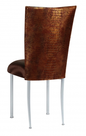 Bronze Croc Chair Cover with Chocolate Stretch Knit Cushion on Silver Legs (1)