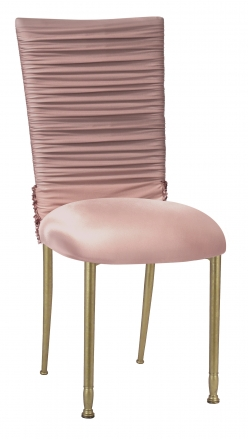 Chloe Blush Chair Cover with Bedazzle Band and Blush Stretch Knit Cushion on Gold Legs (2)