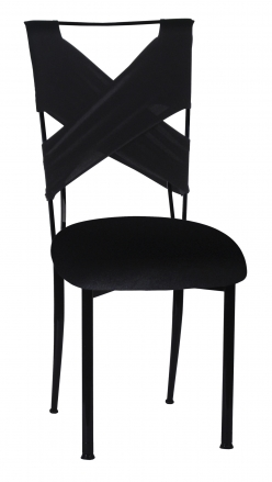 Black Velvet Criss Cross Chair Cover and Cushion on Black Legs (2)