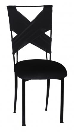 Black Velvet Criss Cross Chair Cover and Cushion on Black Legs (2)