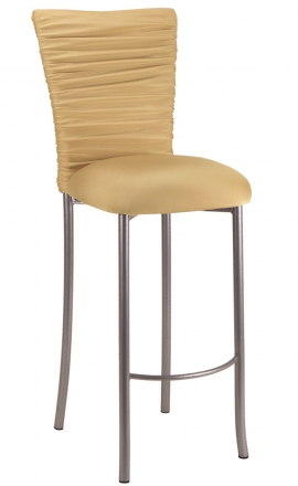 Chloe Gold Stretch Knit Barstool Cover and Cushion on Silver Legs (2)