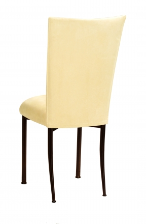 Buttercup Suede Chair Cover and Cushion on Brown Legs (1)