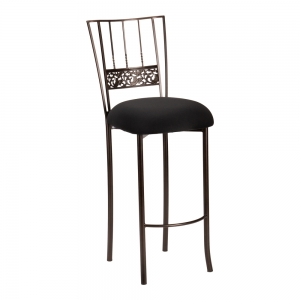 Bella Fleur Mahogany Barstool with Black Stretch Knit Cushion (2)