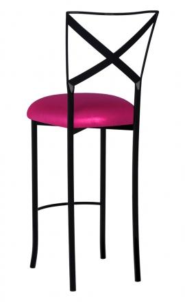 Blak. Barstool with Metallic Fuchsia Stretch Knit Cushion (1)