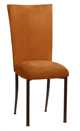 Copper Suede Chair Cover and Cushion on Brown Legs (2)
