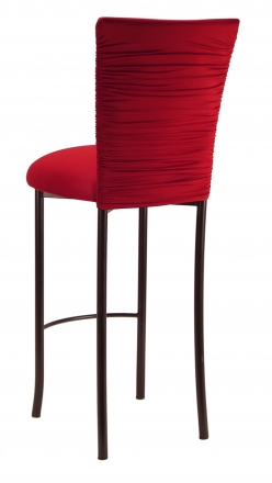 Chloe Red Stretch Knit Barstool Cover and Cushion on Brown Legs (1)