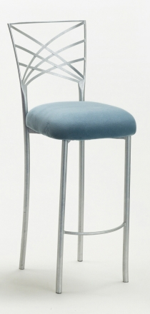 Silver Fanfare Barstool with Ice Blue Suede Cushion (2)