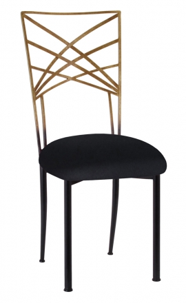 Two Tone Gold Fanfare with Black Velvet Cushion (2)