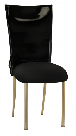 Black Patent Leather Chair Cover with Rhinestone Bow and Black Stretch Knit Cushion on Gold Legs (2)