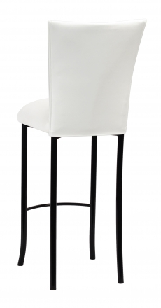 White Leatherette Barstool Cover and Cushion on Black Legs (1)