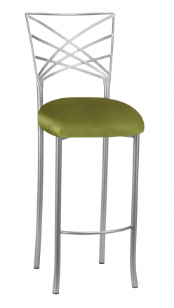 Silver Fanfare Barstool with Lime Satin Cushion (2)