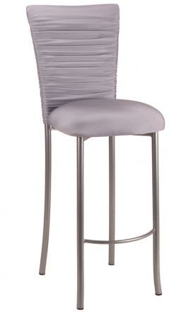 Chloe Silver Stretch Knit Barstool Cover and Cushion on Silver Legs (2)