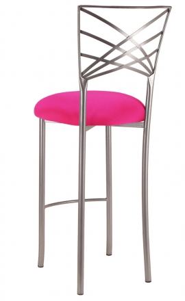 Silver Fanfare Barstool with Hot Pink Stretch Knit Cushion (1)