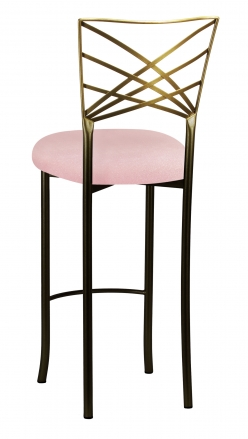 Two Tone Fanfare Barstool with Pink Sparkle Velvet Cushion (1)