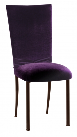Deep Purple Velvet Chair Cover with Jewel Band and Cushion on Brown Legs (2)