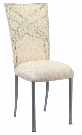 Silver Fanfare with Ivory Lace Chair Cover and Ivory Lace over Ivory Stretch Knit Cushion (2)