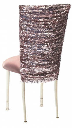 Blush Bedazzled Chair Cover and Blush Stretch Knit Cushion on Ivory Legs (1)