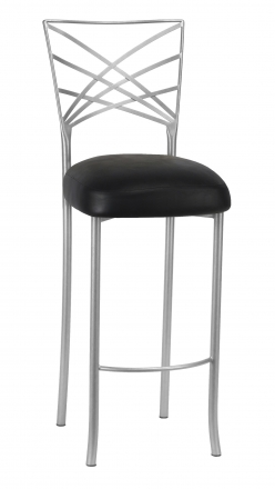 Silver Fanfare Barstool with Black Leatherette Boxed Cushion (2)