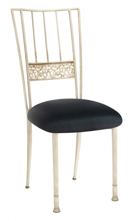 Ivory Bella Fleur with Black Leatherette Cushion (2)