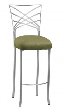 Silver Fanfare Barstool with Olive Velvet Cushion (2)