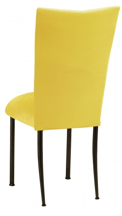 Sunshine Yellow Velvet Chair Cover and Cushion on Brown Legs (1)