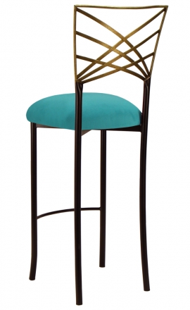Two Tone Gold Fanfare Barstool with Turquoise Suede Cushion (1)