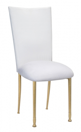 Beau ... White Diamond Tufted Taffeta Chair Cover With White Suede Cushion On  Gold Legs (2)