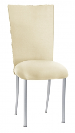 Ivory Rosette Chair Cover with Ivory Stretch Knit Cushion on Silver Legs (2)
