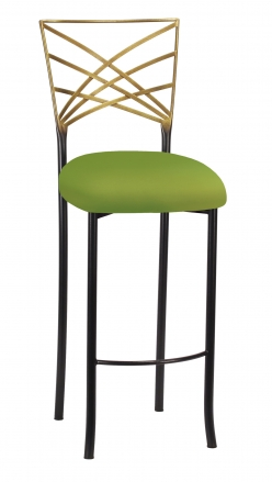 Two Tone Fanfare Barstool with Lime Knit Cushion (2)