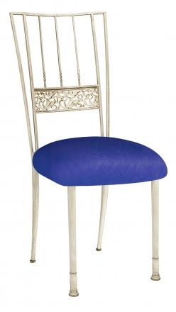 Ivory Bella Fleur with Royal Blue Stretch Knit Cushion (2)