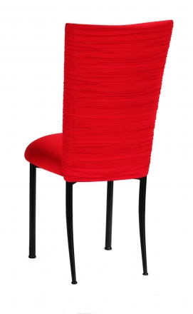 Chloe Million Dollar Red Stretch Knit Chair Cover and Cushion on Brown Legs (1)