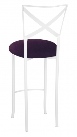 Simply X White Barstool with Eggplant Velvet Cushion (1)