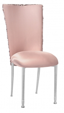 Blush Bedazzled Chair Cover and Blush Stretch Knit Cushion on Silver Legs (2)